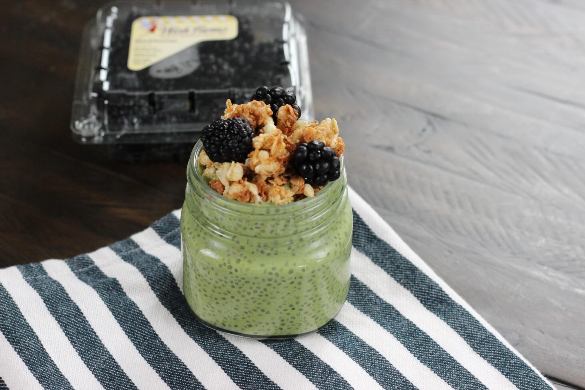 Blackberry Matcha Chia Seed Pudding