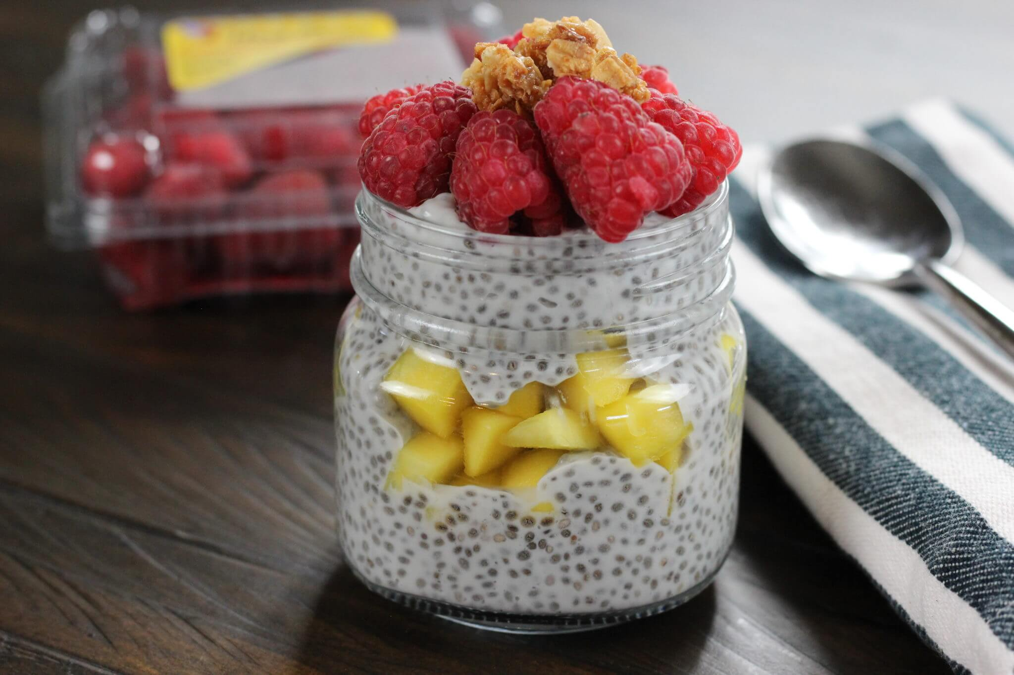 Mango Raspberry Chia Seed Pudding