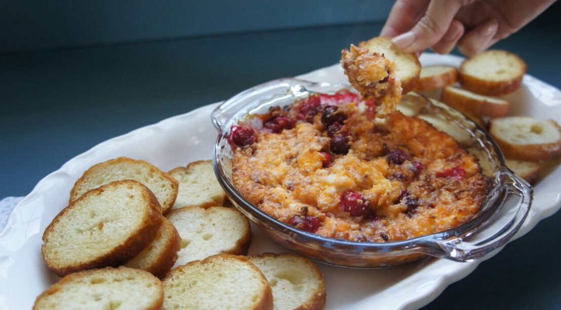 Cheesy Cranberry Raspberry Crostini Dip