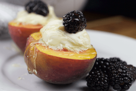 Mascarpone and Blackberry Stuffed Peaches Dessert