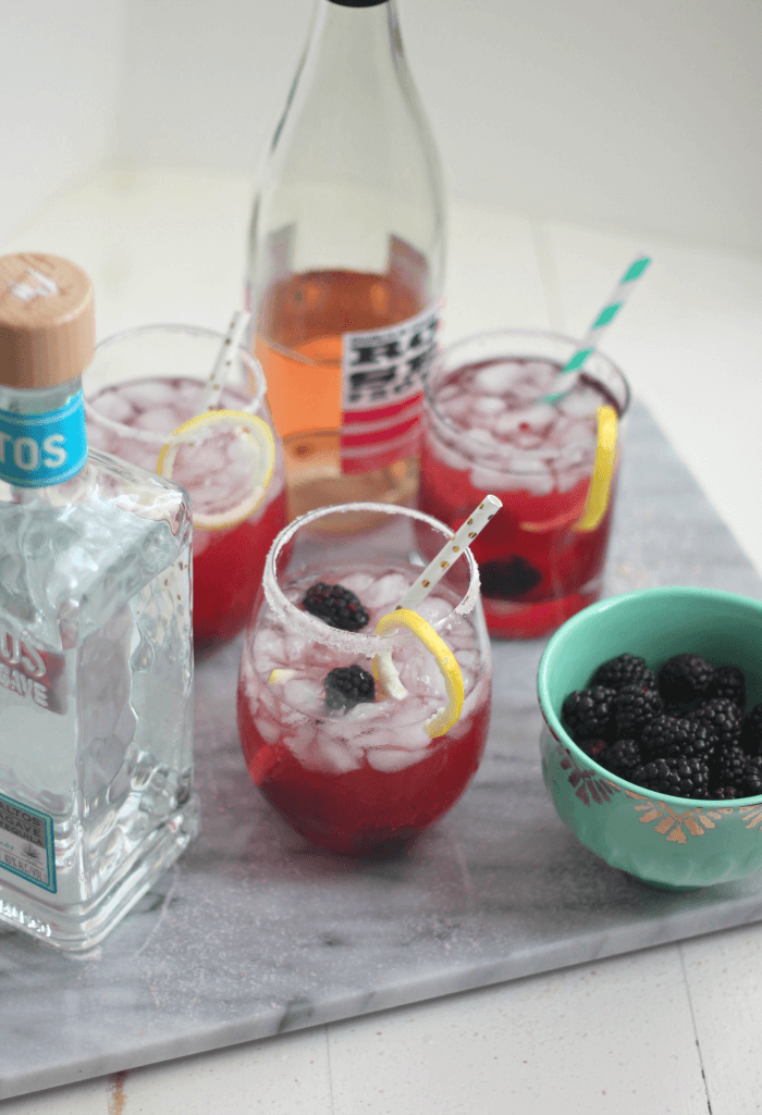 Blackberry Rose Margarita Cocktails